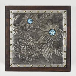Antique French Art Nouveau Repoussed Pewter Wood Trinket Box Alfred Daguet Style