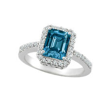 2.25 Carat Blue SI2 Emerald Diamond Solitaire Halo Wedding Ring 14K White Gold