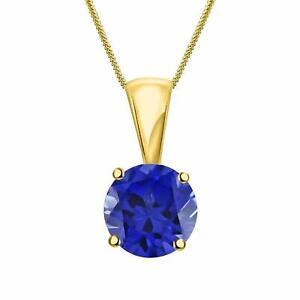 Plata Fina Natural Certificado Zafiro Azul Chapado en Oro Cadena Colgante Collar