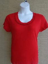 Being Casual Ribbed Cotton Knit Ruffled Scoop Neck Tee Top Red L