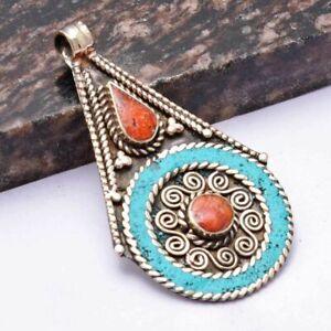 "Tibetan Turquoise Coral Ethnic Handmade Pendant Jewelry 2.72"" AP 39973"