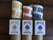 Bicycle Metalluxe UNCUT SHEET Playing Cards Golden Luxe Cobalt Crimson