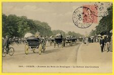 cpa Belle Animation 1906 PARIS Retour des COURSES de CHEVAUX Attelages Calèches