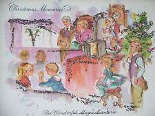"VTG MID CENTURY CHRISTMAS GREETING CARD GLITTERED ""CHRISTMAS MEMORIES"""