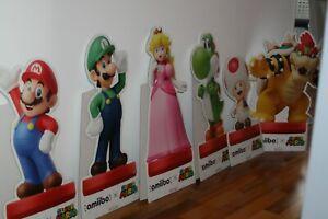 6 x Super Mario Amiibo Nintendo Promo Aufsteller Merchandising