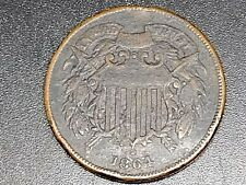 1864 Two Cents Coin VG