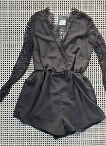 💜 BNWT MISSGUIDED Party Lace Sleeve Romper Black Size 10 Buy7=FreePost L835