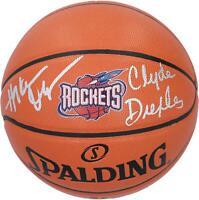Hakeem Olajuwon, Clyde Drexler Rockets Signed 1996 Hardwood Classic Basketball
