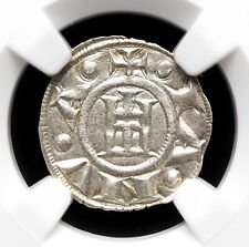 ITALIAN STATES, Republic of Genoa. Silver Denaro, 1139-1339, NGC MS63