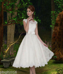 Classic Tea Length Lace Wedding Dress Bridal Gown Party Prom Dress Size 6++++18