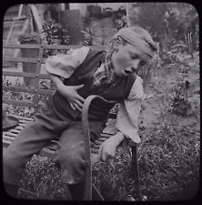 Glass Magic Lantern Slide YOUNG BOY - EFFECTS OF THE FIRST CIGAR C1890 PHOTO