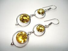 AB Yellow Citrine Round-Cut Double-Gem .925 Silver Hook Earrings Dangle 2.5""