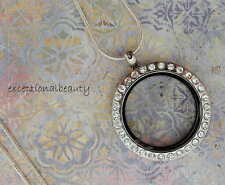 Memory Floating Charm Pendant Necklace Round Crystal Rhinestone 30mm Living