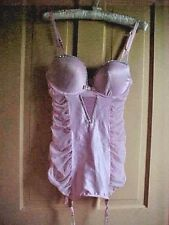 36C Victoria's Secret Pink see through Shaper rhinestones UW garters molded cups