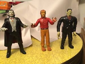 IMPERIAL MONSTERS UNIVERSAL MONSTER TOYS DRACULA,WOLFMAN AND FRANKENSTEIN