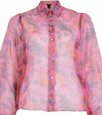 river island Pink Floral Blouse Ballon Sleeve Organza Fabric Size 12 Sheer New