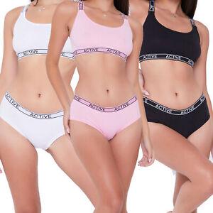 Girls 3 Pack Hipsters & 3 Pack Crop Top Set Underwear Bra Top Size 10-15 Years