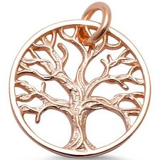 Plain Rose Gold Plated Tree of Life .925 Sterling Silver Pendant