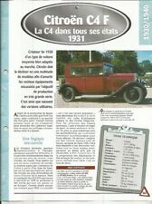 FICHE AUTOMOBILE - LA CITROEN C4 F 1931