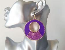 Gorgeous PURPLE enamel & sparkly glitter round disc hoop drop earrings, NEW 27R
