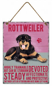 Rottweiler Dog Hanging Metal Sign w rope hanger Approx 27cm H x 20cm W