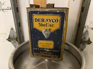 One Gallon Oil Can Clean Condition Derayco Shellac. Man Cave Display