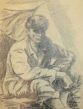 1960 Man portrait pencil painting signed