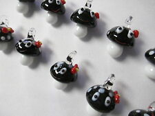 MUSHROOM Pendants lot of 10 Black and White - Girly Face with Bow Glass Lampwork
