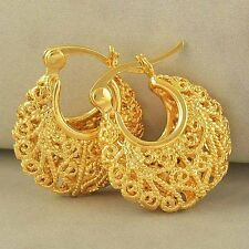 Huggie Hoop earing Free Shipping Amazing 9K Yellow Gold Filled Openwork