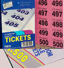 3 books of 500 raffle tickets cloakroom tombola up to 6 colours with easy tear