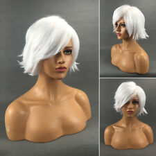 Fashion Women's Short Straight Wigs White Synthetic Natural Full Hair Bob Wig