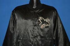 vintage 90s SAN JOSE SHARKS BLACK SATIN LOCKER LINE SNAP UP NHL JACKET LARGE L