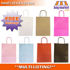 More details for coloured paper kraft gift bags! | loot/party/wedding/birthday | twisted handle