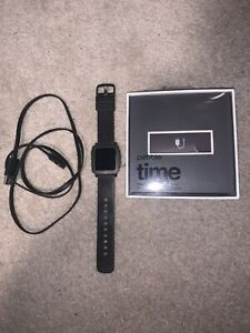 Pebble Time Stainless Steel Case Jet Black Classic Buckle Smart Watch