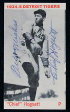 "Chief Hogsett Signed 1974 TCMA ""1934-5 Detroit Tigers"" Card died-2001 COA"
