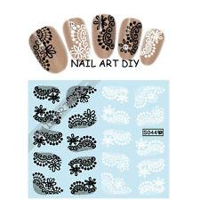 Adesivi per unghie con Pizzo Nero/Bianco-Nail Art water transfer Stickers Decals