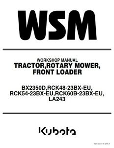KUBOTA TRACTOR BX2350D WORKSHOP MANUAL REPRINTED 2006 EDITION