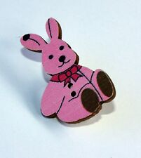 Brooch Pink Rabbit Cute Handmade Jewellery Backpack Hat Pin Bag Wooden Badge