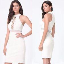 BEBE WHITE GIGI MESH INSET CRISSCROSS CUTOUT DRESS NEW NWT $129 MEDIUM M