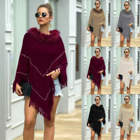 Women Winter Knitted Loose Cashmere Poncho Capes Shawl Cardigans Sweater Coat
