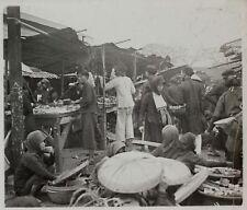 Marché Asie Siam Indo Chine Vietnam Photo K5 Plaque de verre Stereo Vintage