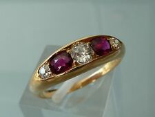 SUPERB QUALITY ANTIQUE RUBY AND DIAMOND RING 18CT EDWARDIAN