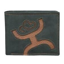 Hooey Western Mens Wallet Bifold Cowboy Logo Inlay Leather  Black 1473138W6