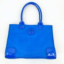 Tory Burch Ella Nylon Packable Tote Blue Patent Leather Handles Logo *See note