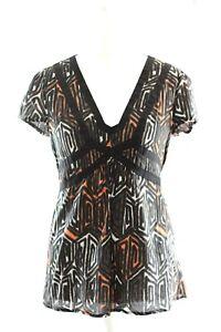 Ladies Shirt, Blouse John by John Richmond Short Sleeve Cotton Top UK Size 16