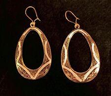 Vintage Toledo Spain Earrings 24K Gold-Plated Damascene Style Ornate Nice Oval