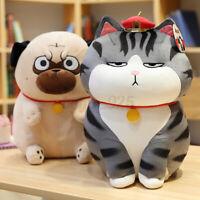 30/40CM Gray Cat Yellow Dog Plush Toy Child Doll Birthday Girlfriend Gift Pillow