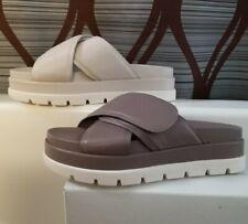 NEW [$100] J /SLIDES NYC Leather adjstable slider Sandal in SMOKE grey & VANILLA