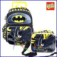 """Batman Rolling Backpack 16"""" Large Rolling Backpack Lunch Bag  2 pc Set"""