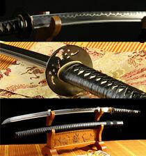 "41""DAMACUS FOLDED STEEL CLAY TEMPERED BLADE JAPANESE SAMURAI SWORD KATANA SHARP"